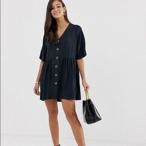 ASOS DESIGN v neck button through mini smock dress